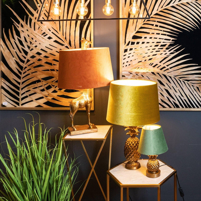 Antique Gold Giraffe Lamp With Burnt Orange Velvet Shade