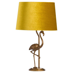 Antique Gold Flamingo Lamp With Mustard Velvet Shade-Hills Interior-Luxe Interior
