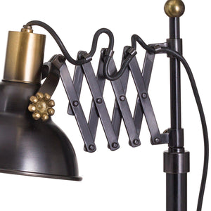 Black And Brass Adjustable Scissor Lamp-Hills Interior-Luxe Interior