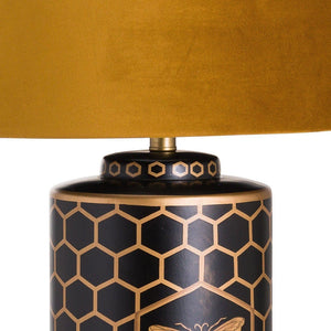 Harlow Bee Table Lamp With Mustard Shade-Hills Interior-Luxe Interior