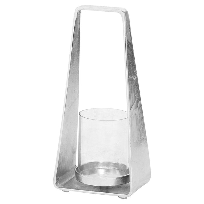 Luxe Cast Silver Pyramid Lantern