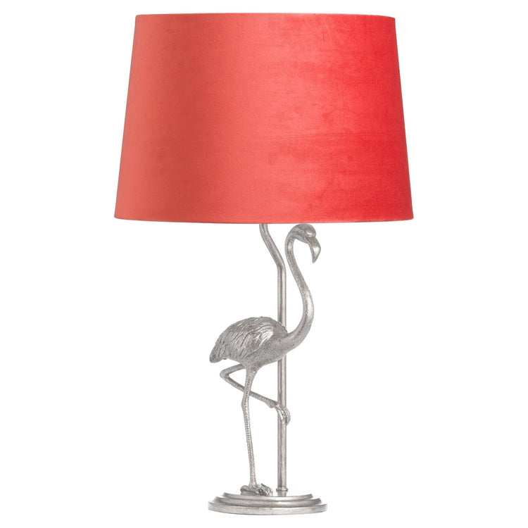 Antique Silver Flamingo Lamp With Coral Velvet Shade-Hills Interior-Luxe Interior