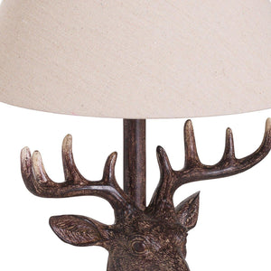 Stag Head Table Lamp With Linen Shade