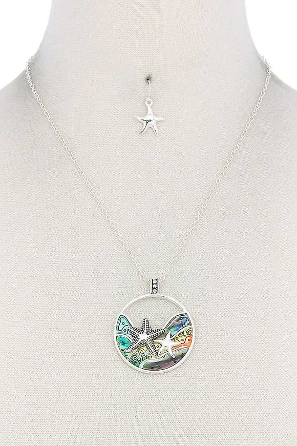 Starfish Round Pendant Necklace