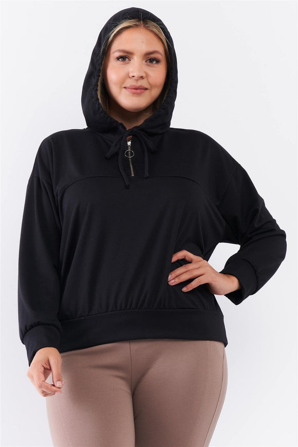 Plus Black Oversize High Neck Zip-up Detail Draw String Tie Hoodie Sweatshirt