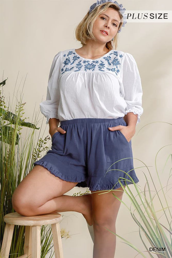 Linen Blend Elastic Waist Ruffle Hem Shorts With Pockets