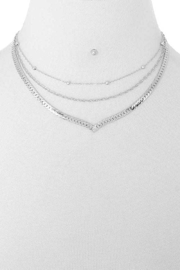 3 Layered Metal Chain Multi Necklace