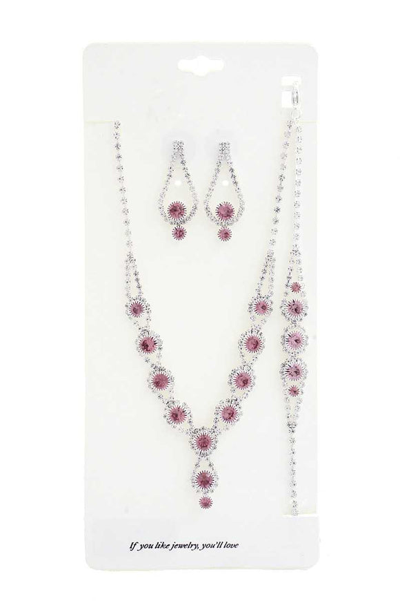 Elegant Rhinestone Bracelet Necklace Set