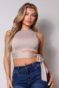Sleeveless Cutout Side Tie Basic Top