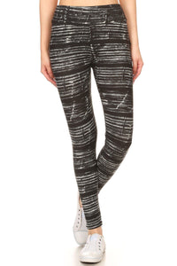 Yoga Style Banded Lined Multicolor Print, Full Length Leggings In A Slim Fitting Style With A Banded High Waist