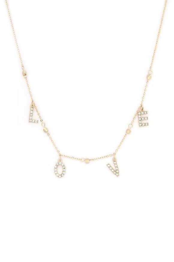Love Rhinestone Charm Necklace