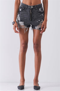 Ripped High-waist Front Zip-up Raw Hem Detail Distressed Mini Shorts