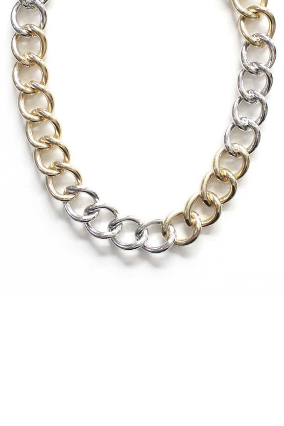 Fashion Metal Two Tone Necklace