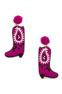 Seed Bead Western Style Boots Dangle Earring