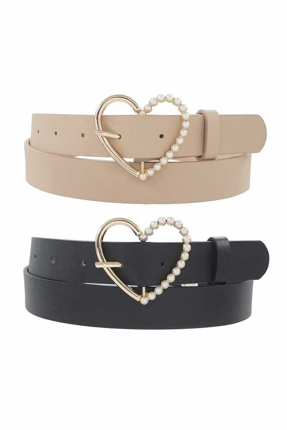 Half Pearl Pave Outline Heart Buckle Duo Belt