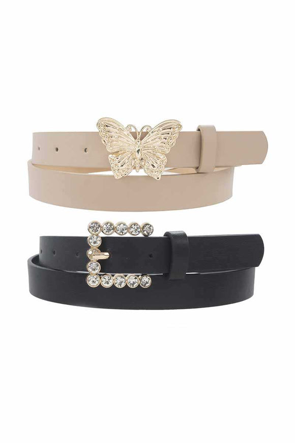 Mini Square Pearl And Butterfly Buckle Duo Belt