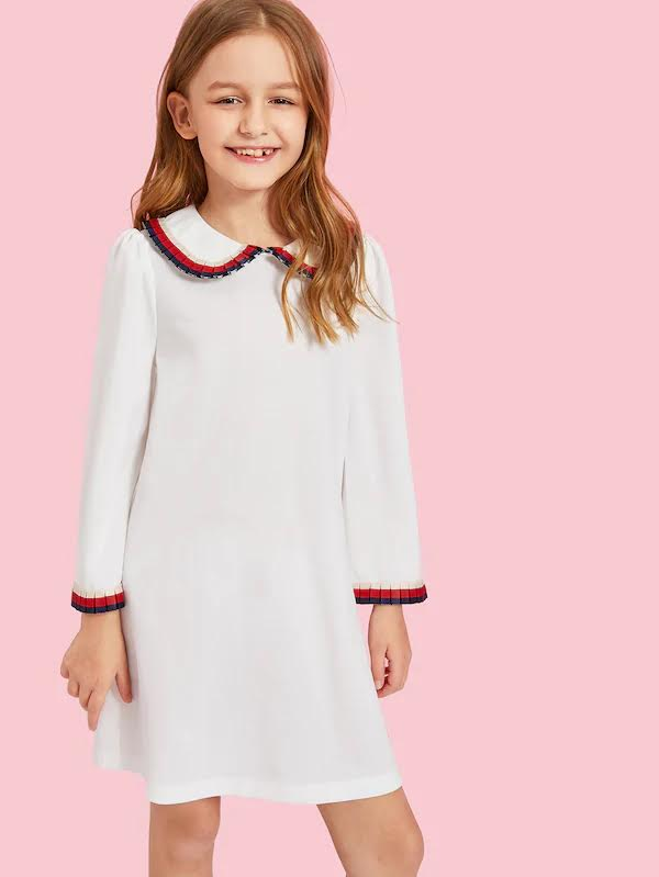 White Trimmed Collar Shift Dress