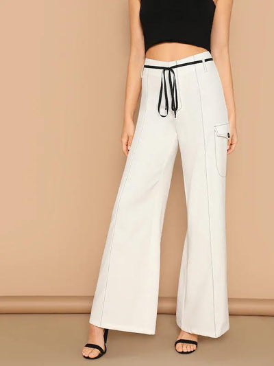 White Flare Leg Pant with Black Top Stitch