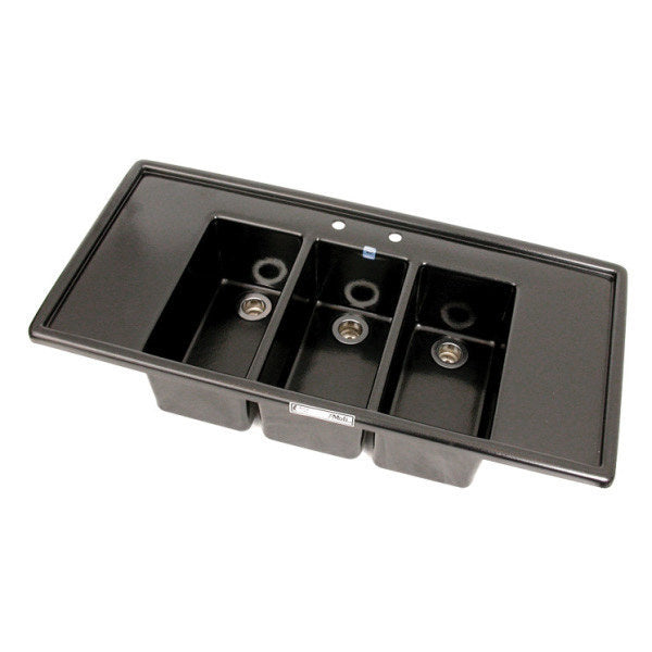 Espresso Cart Sink - Large Three Compartment w/ Drain Boards - Special Order Item