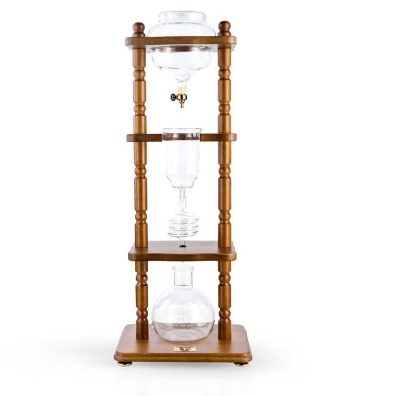 6-8 Cup Cold Drip Maker Curved Brown Wood Frame (32oz)