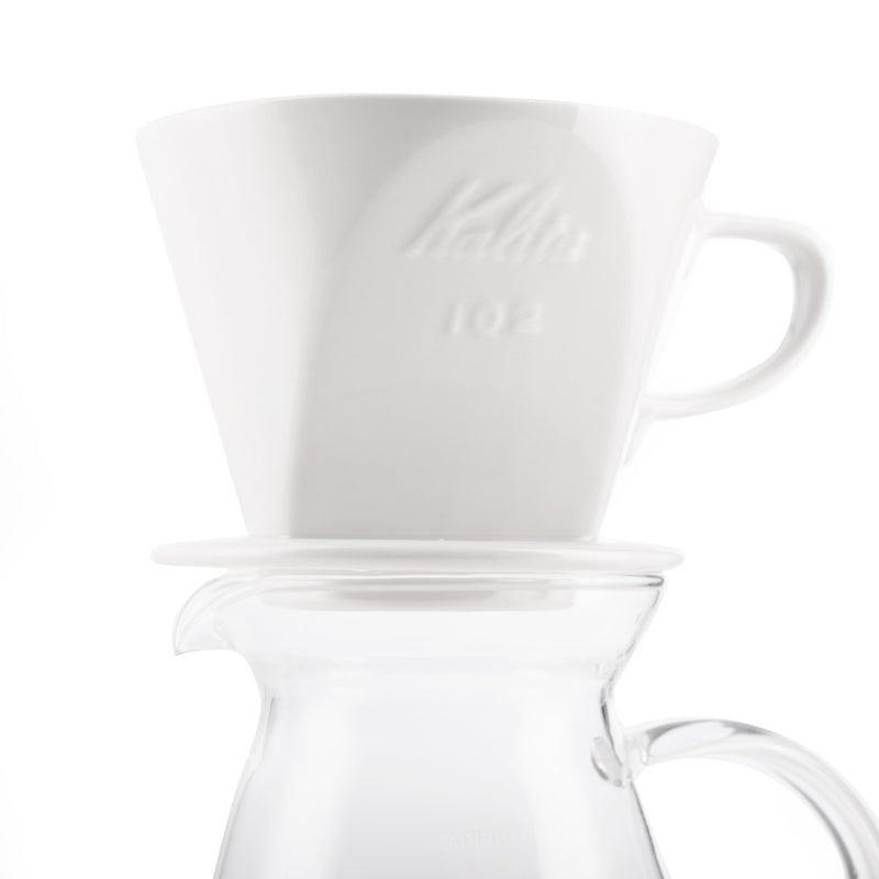 kalita white ceramic dripper on server