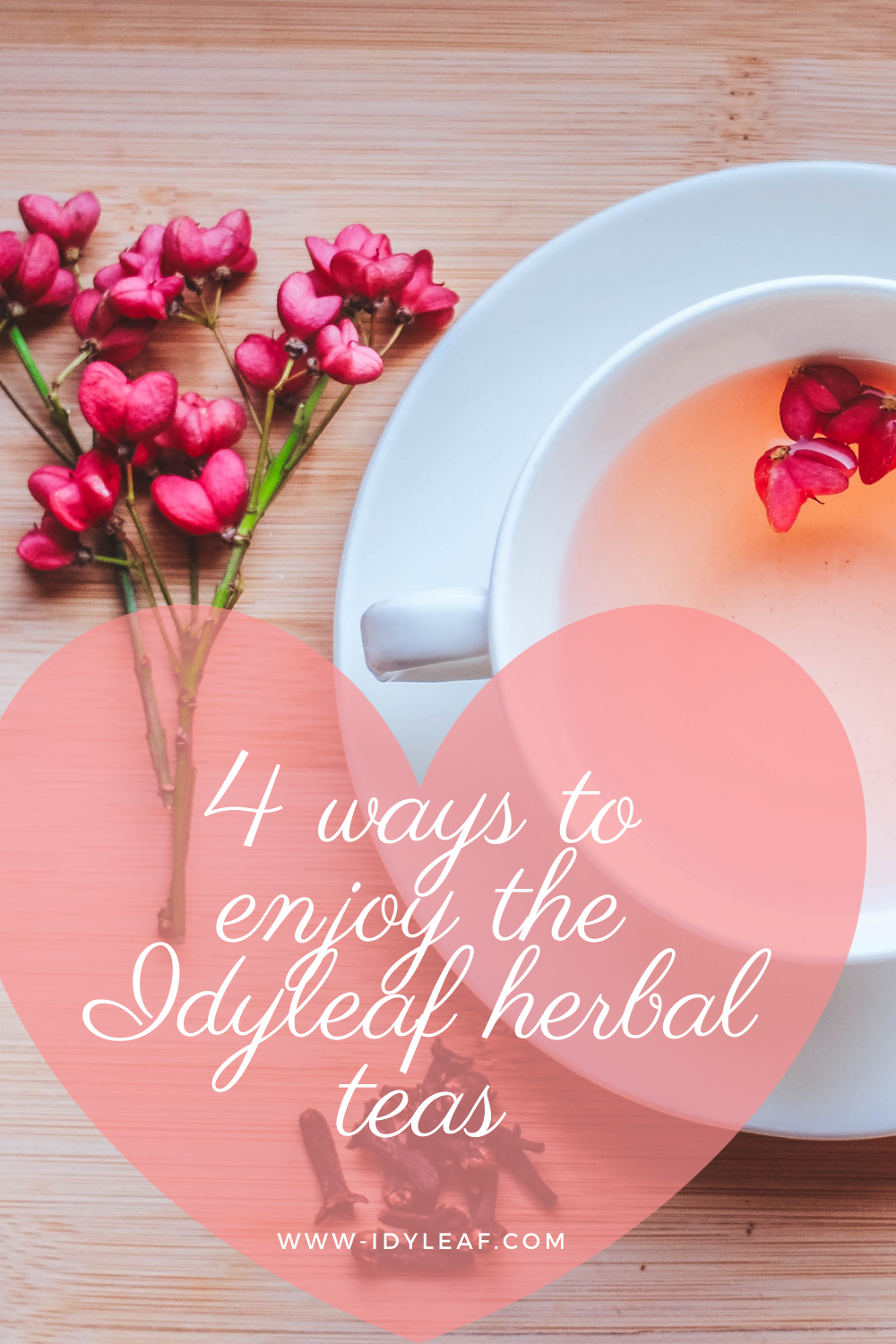 the photo shows a cup of idyleaf hibiscus tea