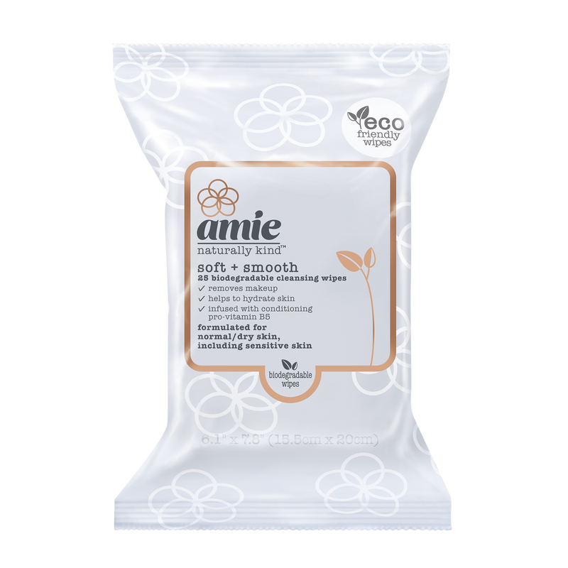 Amie soft and smooth biodegradable cleansing wipes (Pack of 25)