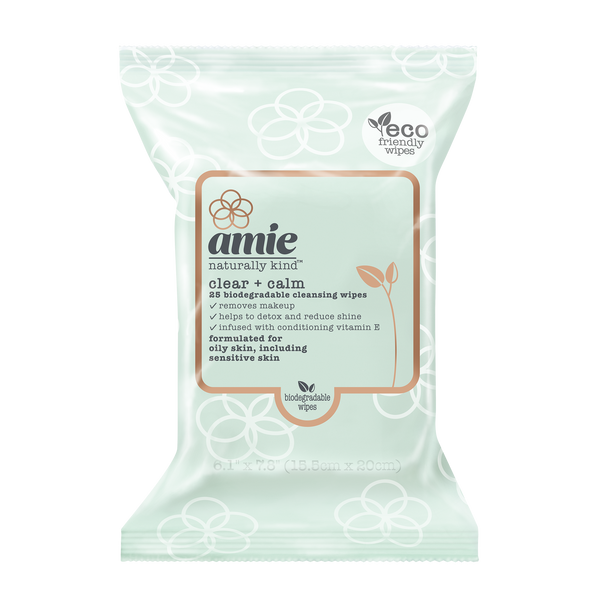 Amie clear and calm biodegradable cleansing wipes (Pack of 25)