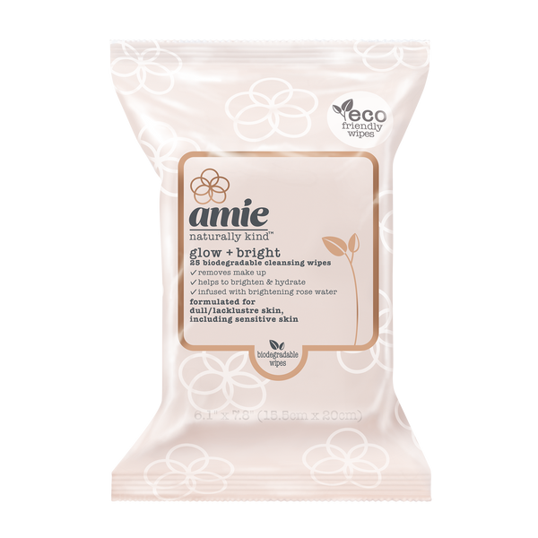 Amie glow and bright biodegradable cleansing wipes (Pack of 25)