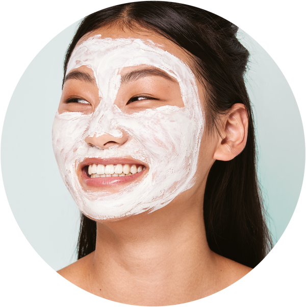 Woman wearing Amie's clear and calm facemask