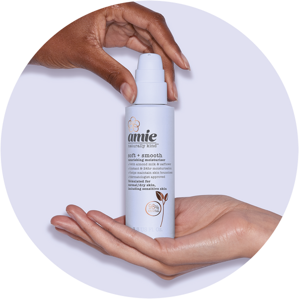 Hands holding Amie soft and smooth nourishing moisturiser (100ml)
