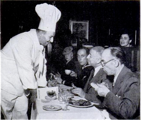 Arshad Al-Omari and Nasrat Al-Farsy (right) dine every evening at Omar Khayyam's. To every delegate Mardikian willingly recites the story of his success.
