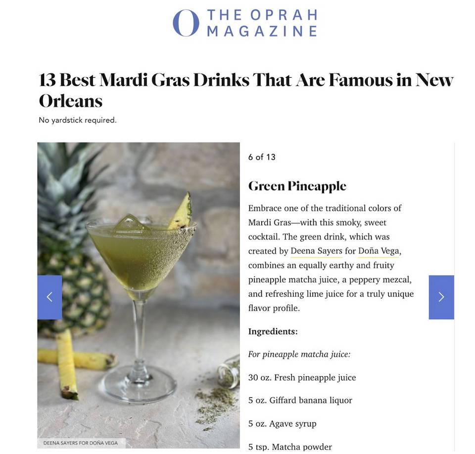 Mardi gras cocktail famous in New Orleans Oprah magazine Mezsal Salts Drinks By Deena Deena Sayers