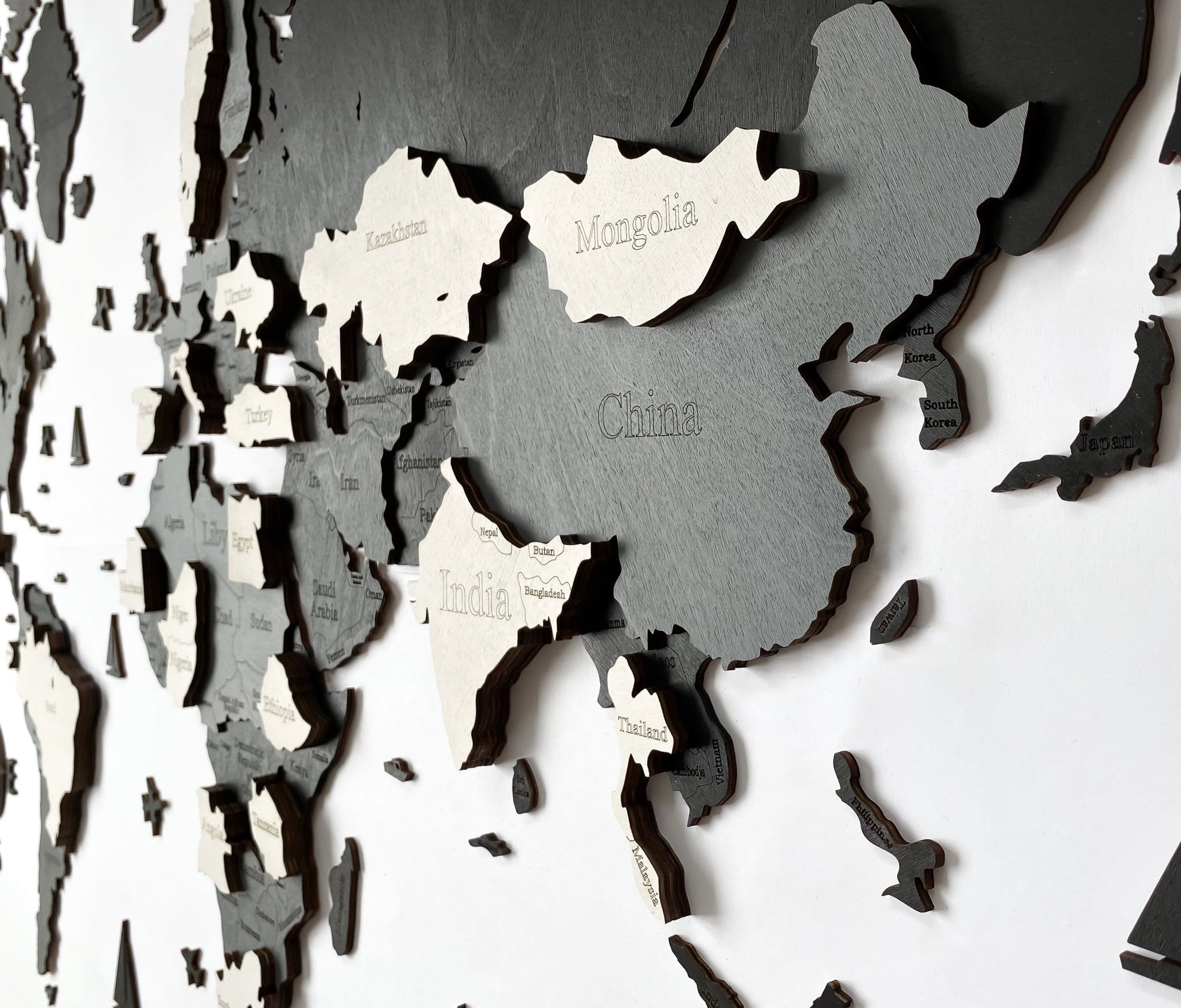 3D Wooden World Map Black and Grey