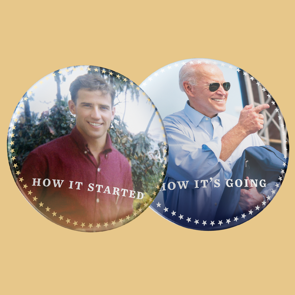 Joe Then and Now Buttons 2-Pack