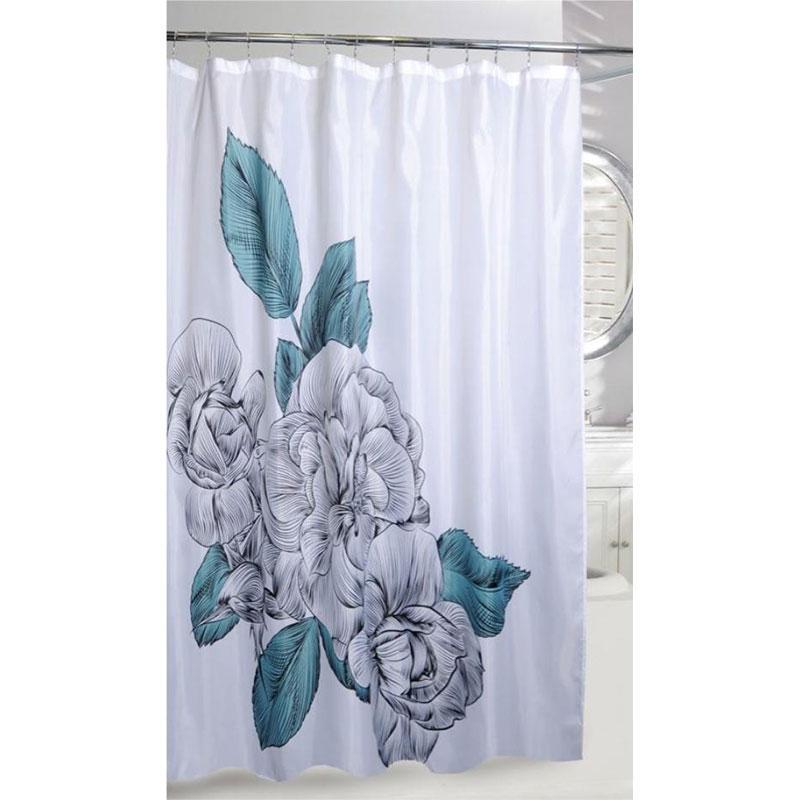 BLUE SKETCH FLORAL FABRIC SHOWER CURTAIN