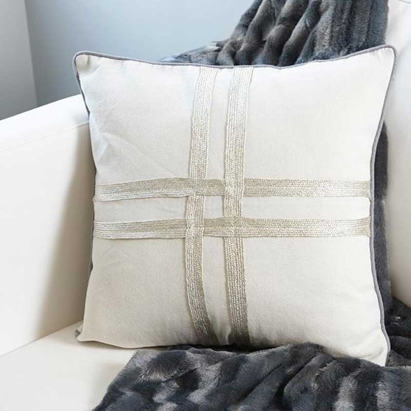 Decorative Gold Ribbon Pillow