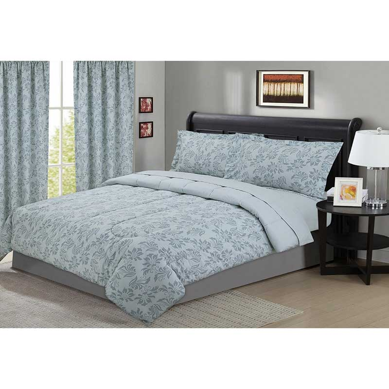 Floral Dusty Blue 5 Piece Comforter Set