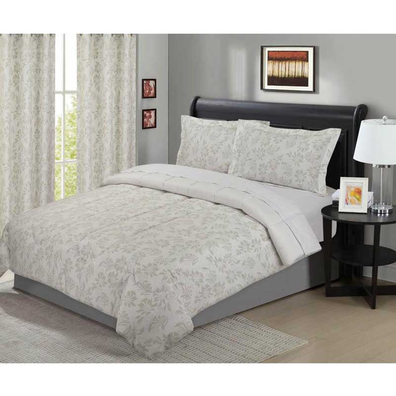 Floral Natural Grey 5 Piece Comforter Set