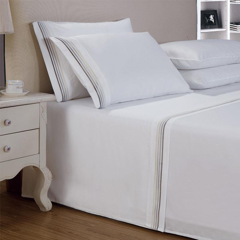 Hotel Classic Sheet - White / Grey - Queen