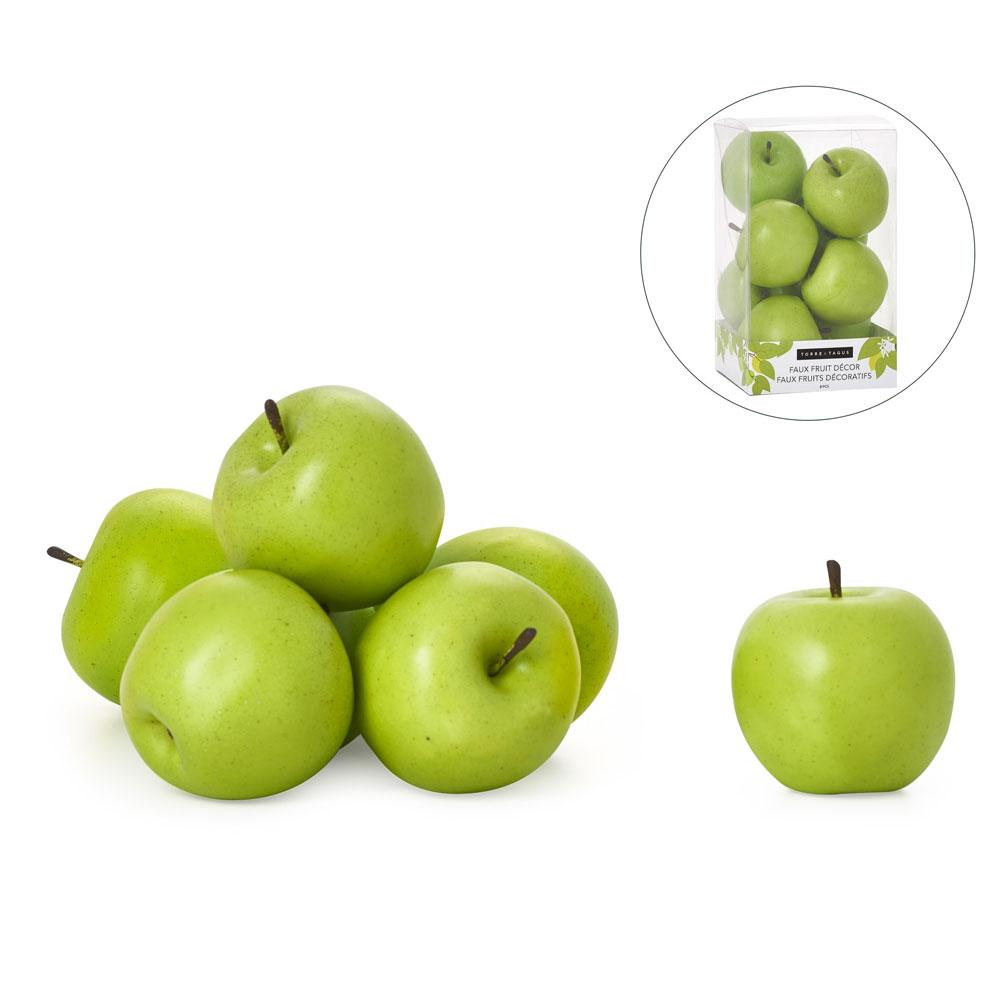 Orchard 8 Piece Faux Fruit Decor Set - Green Apples