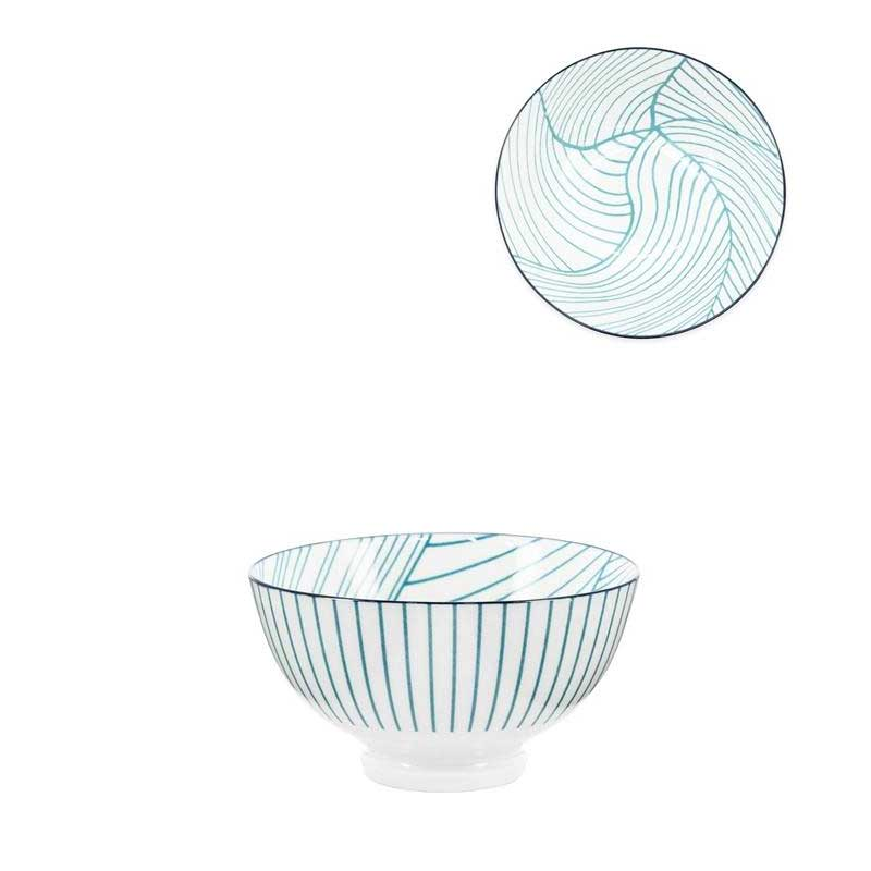 Teal Linear Leaf Bowl 8 OZ 4.5""
