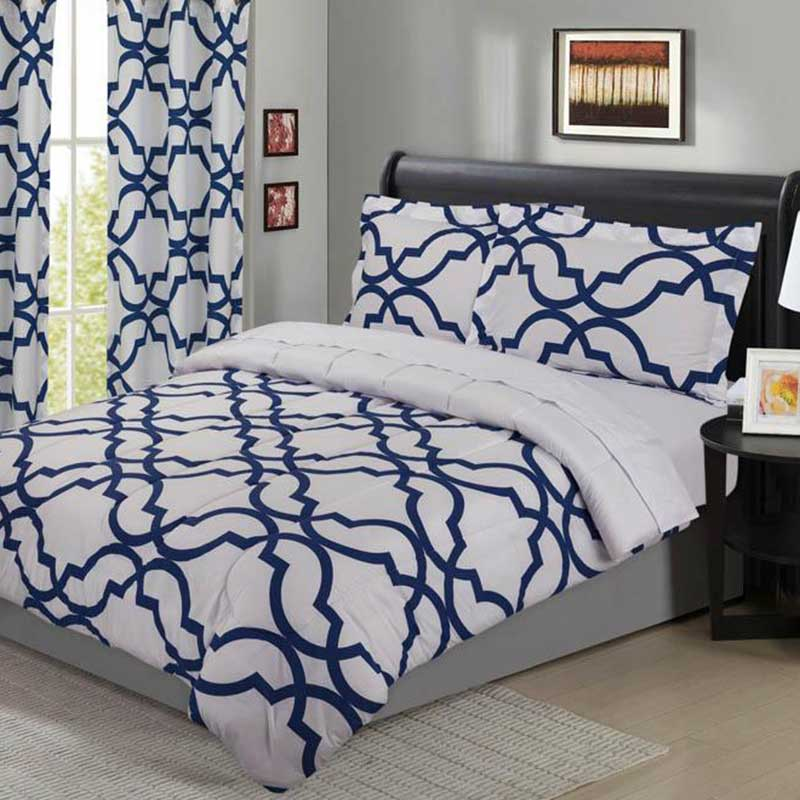 Trellis Brilliant Blue 5 Piece Comforter Set