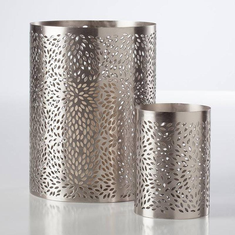 Pebble Cutout Silver Metal Lanterns