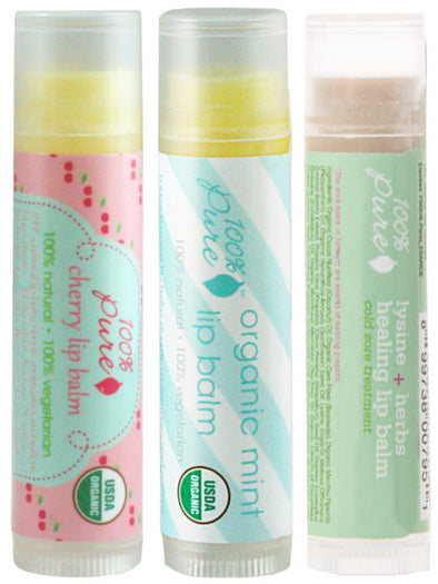 Organic Cherry, Mint , Lysine Lip Balm