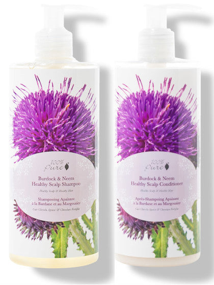100% Pure Burdock & Neem Healthy Scalp Shampoo Conditioner Set 13 oz