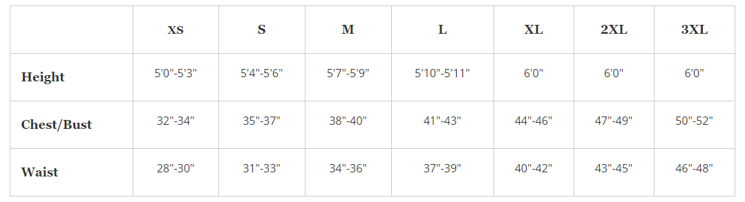 Dignity Suit Size Chart