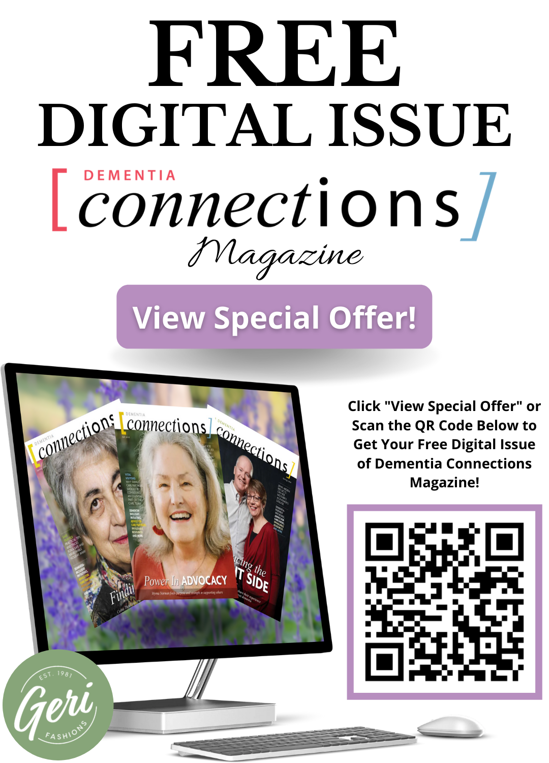Geri Fashions Special Offer - Free Digital Issue of Dementia Connections Magazine