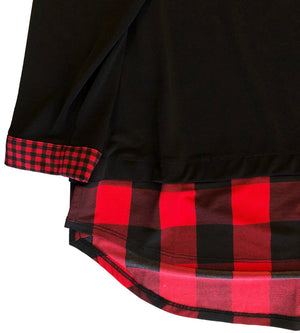Plaid Trim Jersey Henley
