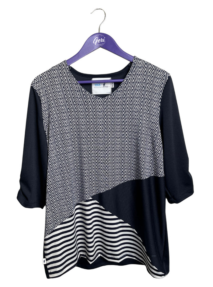 V-Neck Navy & White Adaptive Top